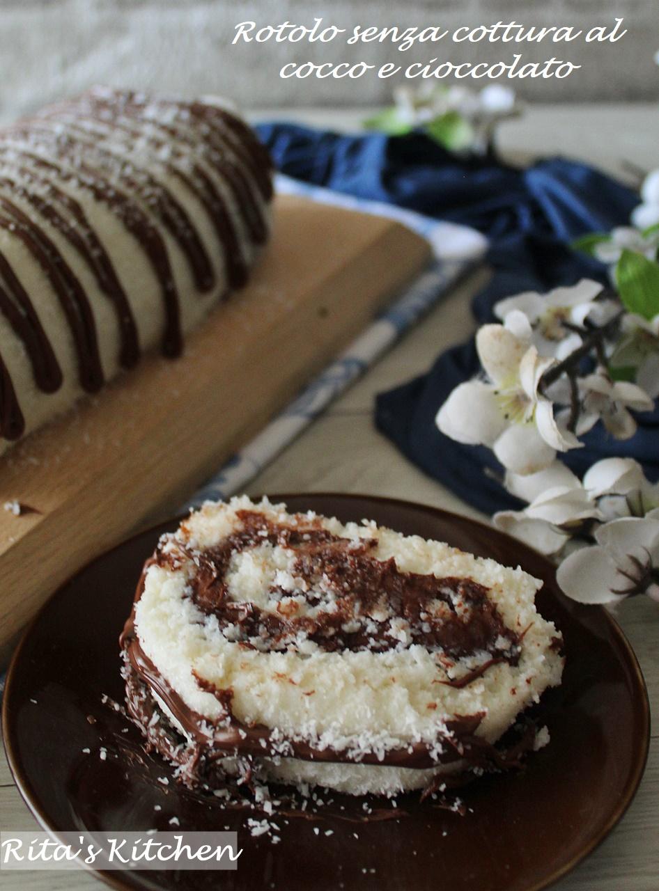 rotolo senza cottura al cocco e cioccolato