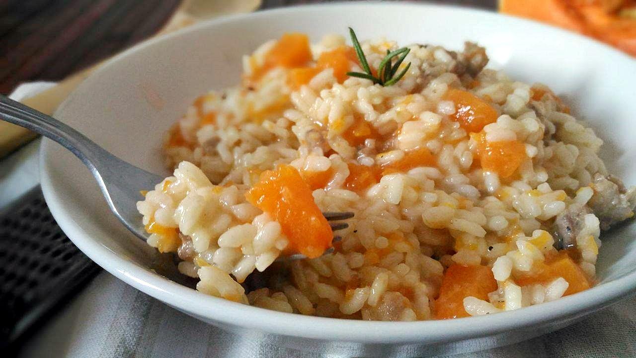 risotto con zucca e salsiccia