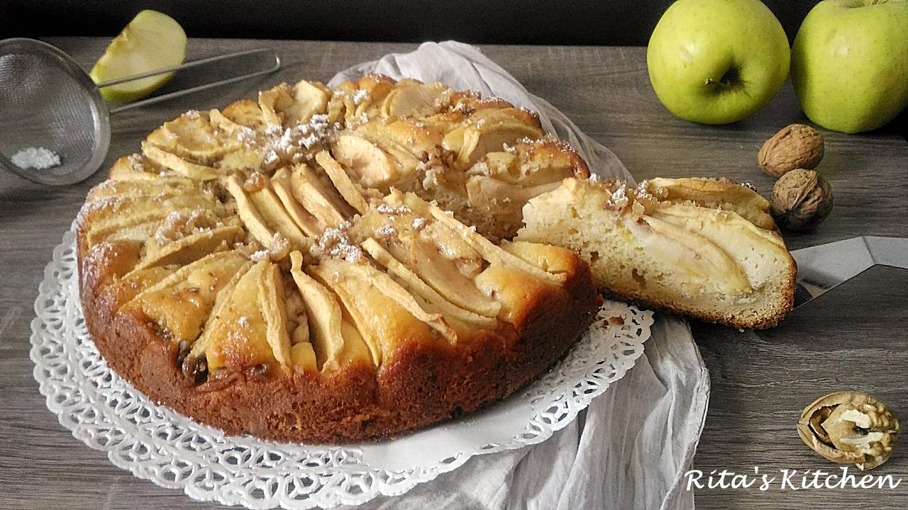 torta di mele, ricotta e noci