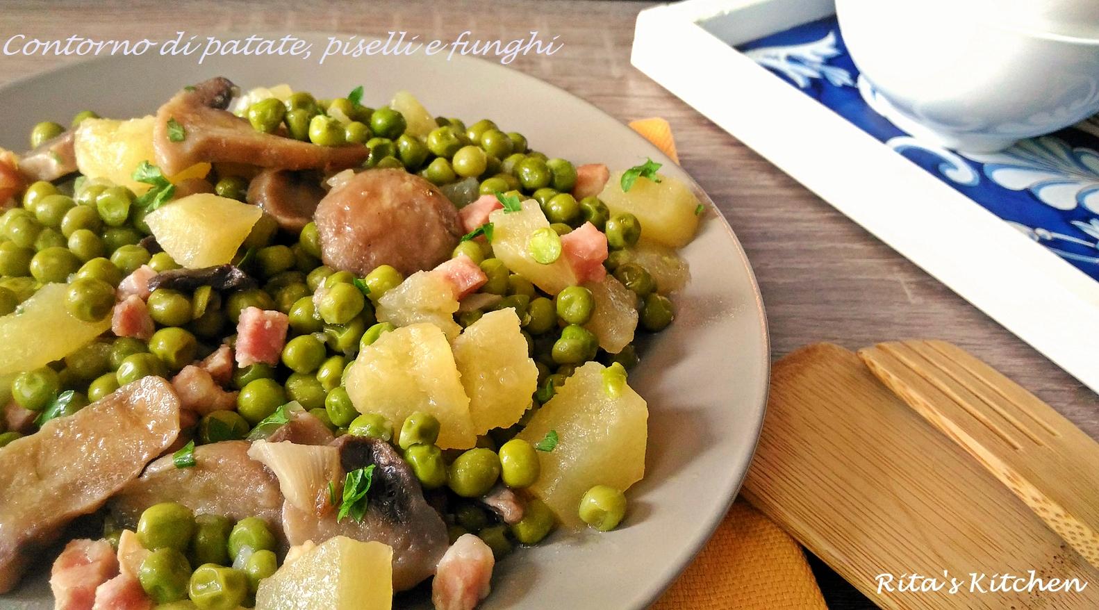 patate, pisellie e funghi