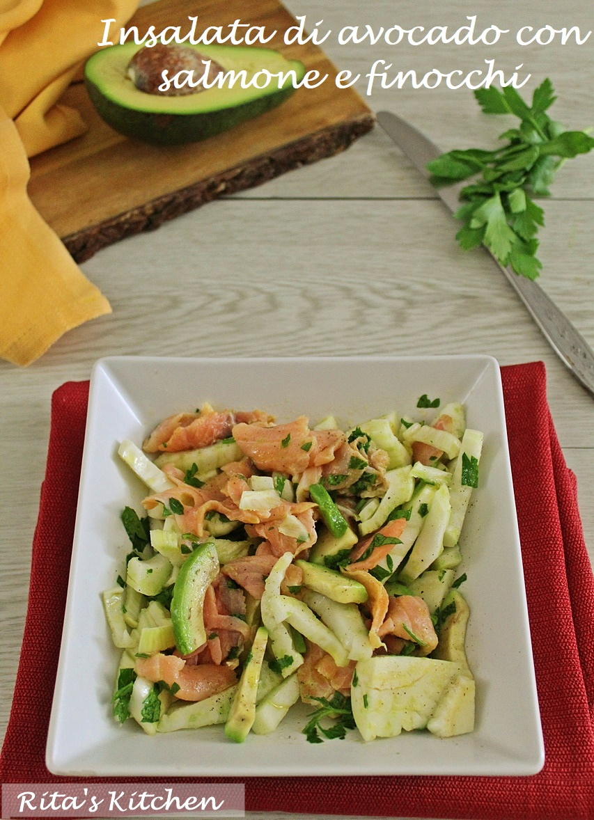 insalata di avocado con salmone e finocchi
